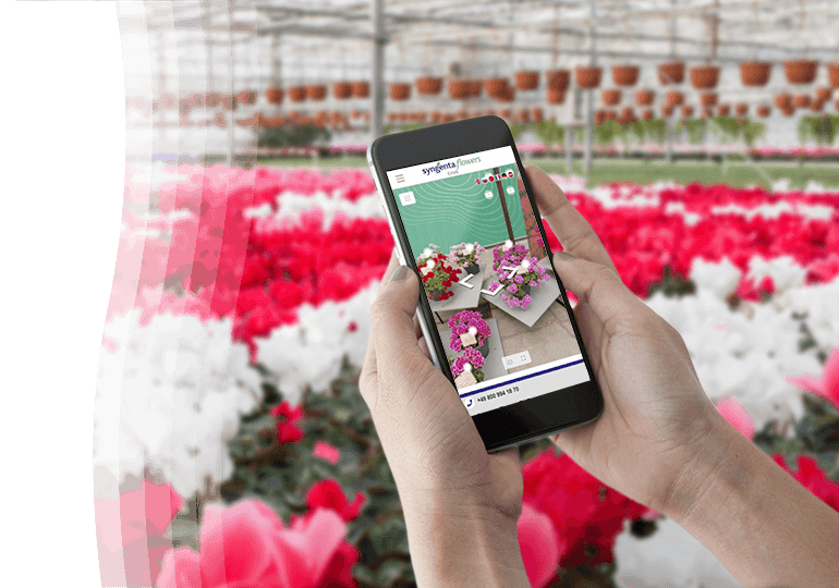 Woman holding phone in Greenhouse